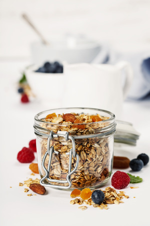 Homemade granola (with dried fruit and nuts) and healthy breakfast ingredients - honey, milk and berries on white background Stock Photo