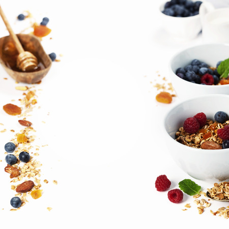 fruit background: Homemade granola (with dried fruit and nuts) and healthy breakfast ingredients - honey, milk and berries on white background Stock Photo