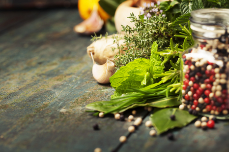Herbs and spices selection on rustic background Stock Photo