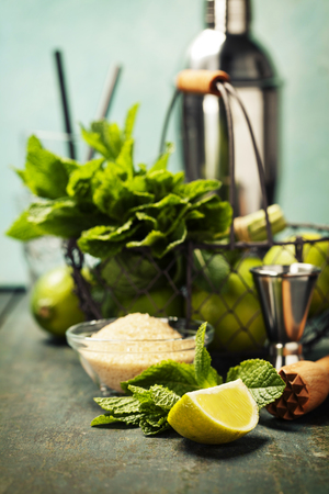 Mojito cocktail ingredients (fresh mint, lime, ice) on rustic background Banco de Imagens