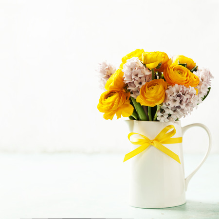 composition: Beautiful spring flowers in vase Stock Photo