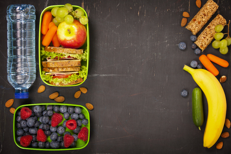 Sandwich, apple, grape, carrot, berry in plastic lunch box and bottle of water on black chalkboard. Back to school concept.