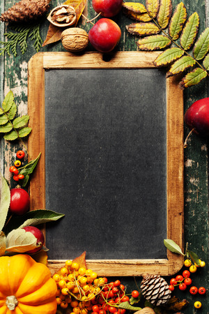 Autumn background with seasonal fruits, vegetables and leaves Stock Photo