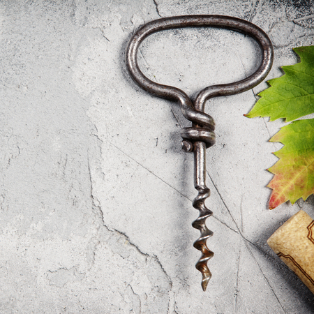 Top view of an old cork screw and grape leaf on gray concrete background with space for text.  A horizontal design template for a tasting invitation or restaurant menu Stock Photo