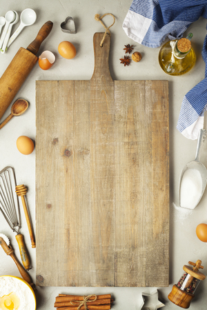 Baking background. Fresh ingredients for baking. On rustic background