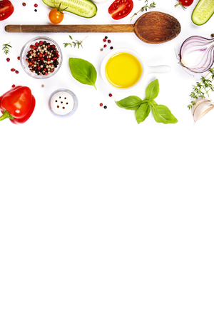 Selection of spices herbs and organic vegetables. Ingredients for cooking. Food background on white. Top view copy space.