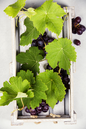 Fresh grape in wooden box. Top view, beton background