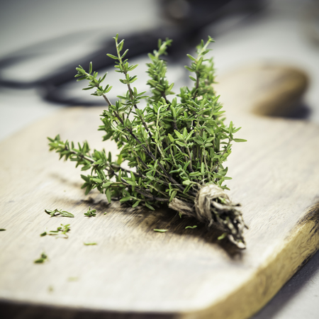 bunch of thyme and scissors on grey concrete background - Healthy food and cooking concept