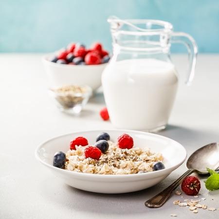 Haferbrei mit frischen Beeren und Mandelmilch. Gesundes Frühstück, gesunde Ernährung, veganes Lebensmittelkonzept.