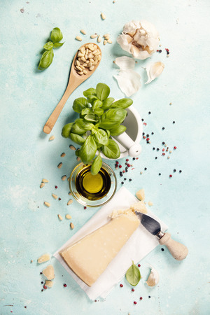 Ingredients for italian pesto sauce on rustic background Archivio Fotografico - 100422893
