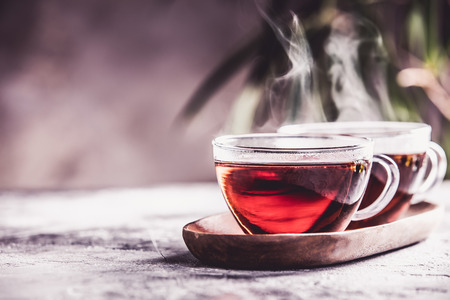 Tea composition on concrete background