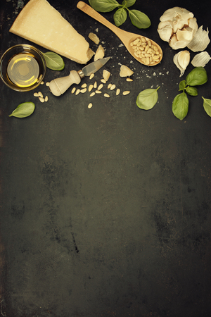 Ingredients for italian pesto sauce on rustic background Archivio Fotografico - 100422925