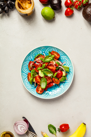 Healthy salad and ingredients Stock Photo