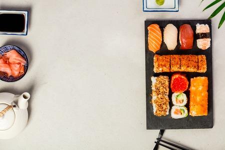Flat-lay of sushi set Reklamní fotografie