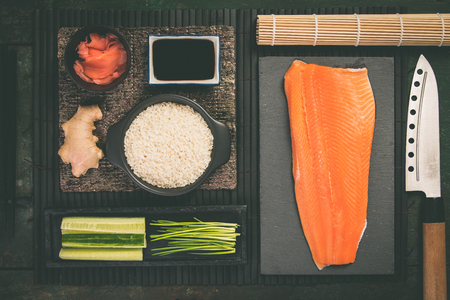Traditional sushi ingredients Banco de Imagens