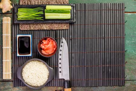 Traditional sushi ingredients Stock Photo