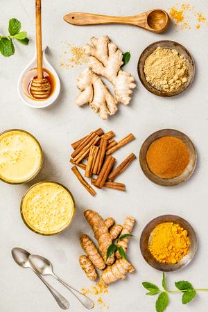 turmeric tea or golden turmeric latte