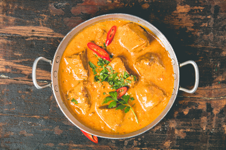 Traditional curry on dark background