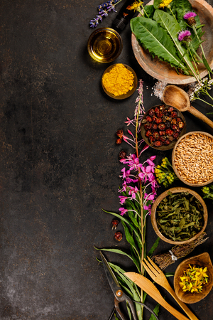 Flat lay of wild healing herbs 版權商用圖片