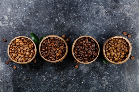 Four different varieties of coffee beans