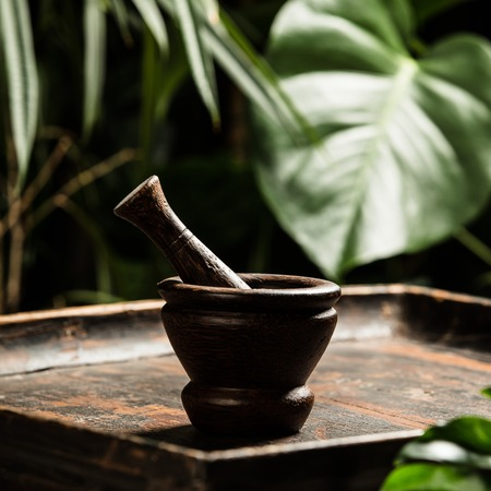 Mortar and pestle on tropical background