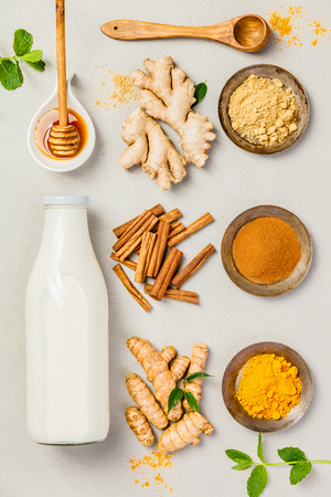 Ginger, turmeric, cinnamon, mint, honey and milk. Ingredients  for healthy drinks - turmeric tea or golden turmeric latte. Top view, copy space
