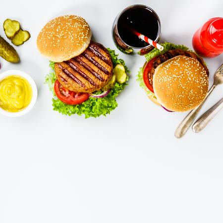 Homemade hamburgers, flat lay