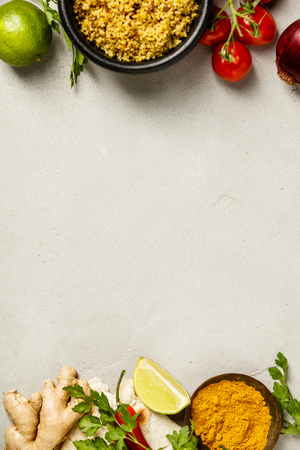 Cooking ingredients, flat lay