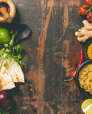 Cooking ingredients on wooden background Stock Photo