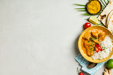 Traditional curry, flat lay