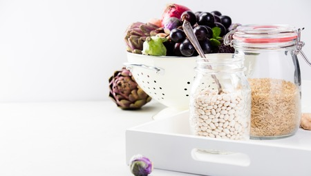 Healthy food concept on white