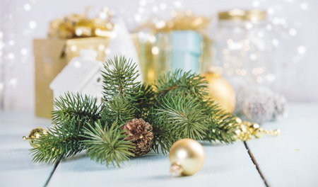 Christmas decorations on wooden Stock Photo