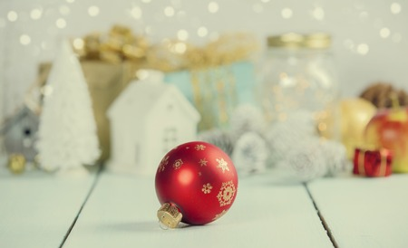 Christmas decorations on wooden bac Stock Photo