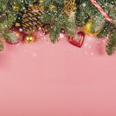 Christmas decorations background - top view, flat lay