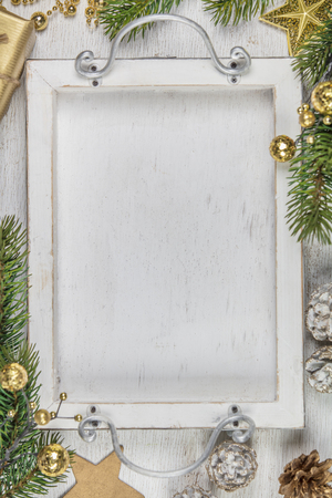 Rustic wood background for Christmas with copy space 免版税图像