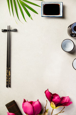 Asian food background, top view, flat lay 写真素材