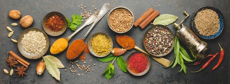 Herbs and spices on dark background - turkish, indian, asian cooking concept, flat lay, space for text Banco de Imagens
