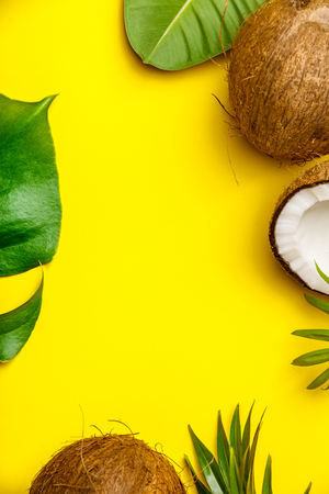 Coconuts and tropical leaves on yellow background, copyspace Stock fotó