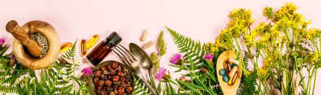 Wild and Healing herbs concept, flat lay, top view 免版税图像 - 117504085