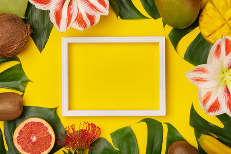 Creative flat lay with tropical fruits and plants and space for your text Banco de Imagens