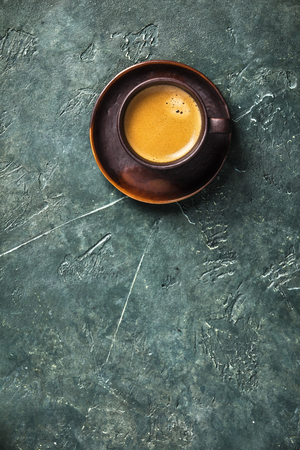 Cup of coffee on rustic  with space for text, flat lay Stock Photo