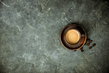 Cup of coffee on rustic  with space for text, flat lay Stock fotó