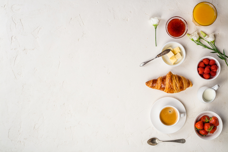 Continental breakfast captured from above top view, flat lay