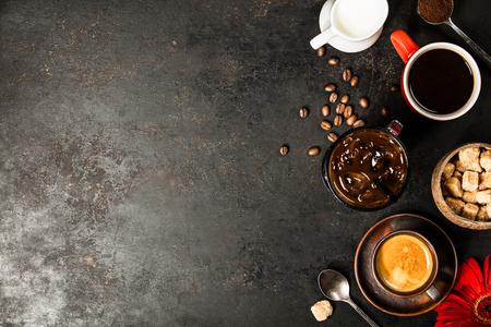 Border of various coffee, flat lay, top view