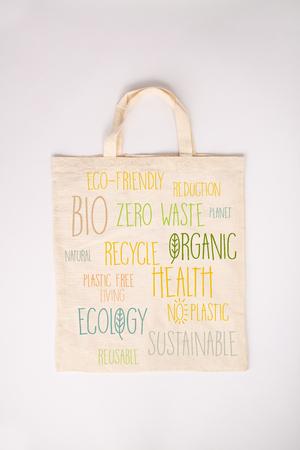 Zero waste, Recycling, Sustainable lifestyle concept. Eco-friendly cotton bag, flat lay Stok Fotoğraf