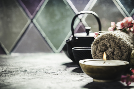 Tea and SPA composition. Natural cosmetics and wellness concept. Stock Photo