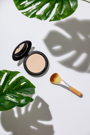 Face powder and brush for makeup