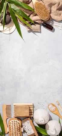 Zero waste, eco friendly bathroom accessories on concrete background Standard-Bild - 123295896