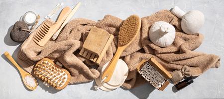 Zero waste, eco friendly bathroom accessories on concrete background Banco de Imagens