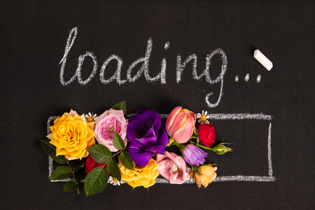 Hand-drown loading bar with flowers Standard-Bild - 123837753
